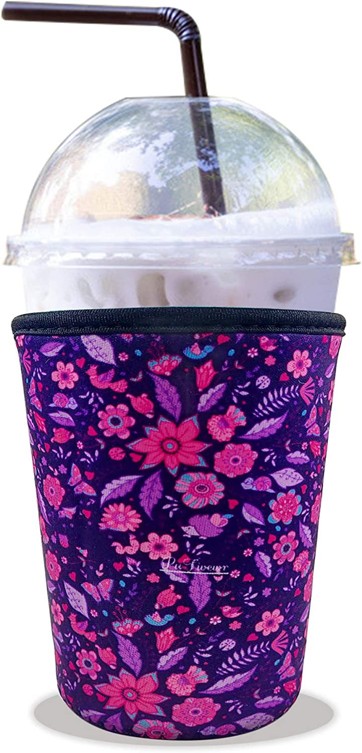 PuFivewr Reusable Iced Coffee Cup Insulator Sleeve for Cold Beverages and Neoprene Holder for Starbucks Coffee, McDonalds, Dunkin Donuts, More (Tropical Maple Leaf, 22oz - 24oz)