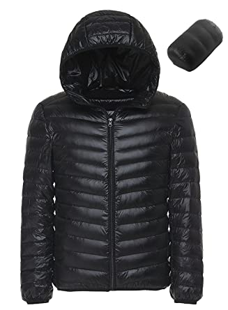 812d187e0ce Sawadikaa Men's Winter Hooded Packable Pillow Down Puffer Jacket Coat  Outdoor Quilted Lightweight Down Parka Black
