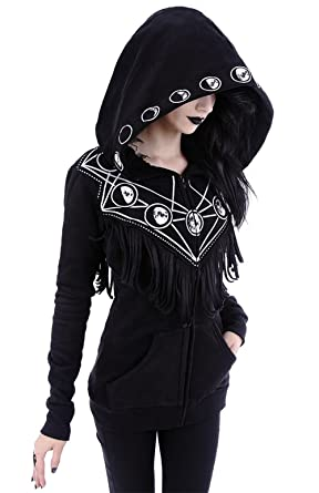 Restyle Gypsy Witch Oversized Hood Moon Phase Gothic Black Hoodie with  Fringe (XS)