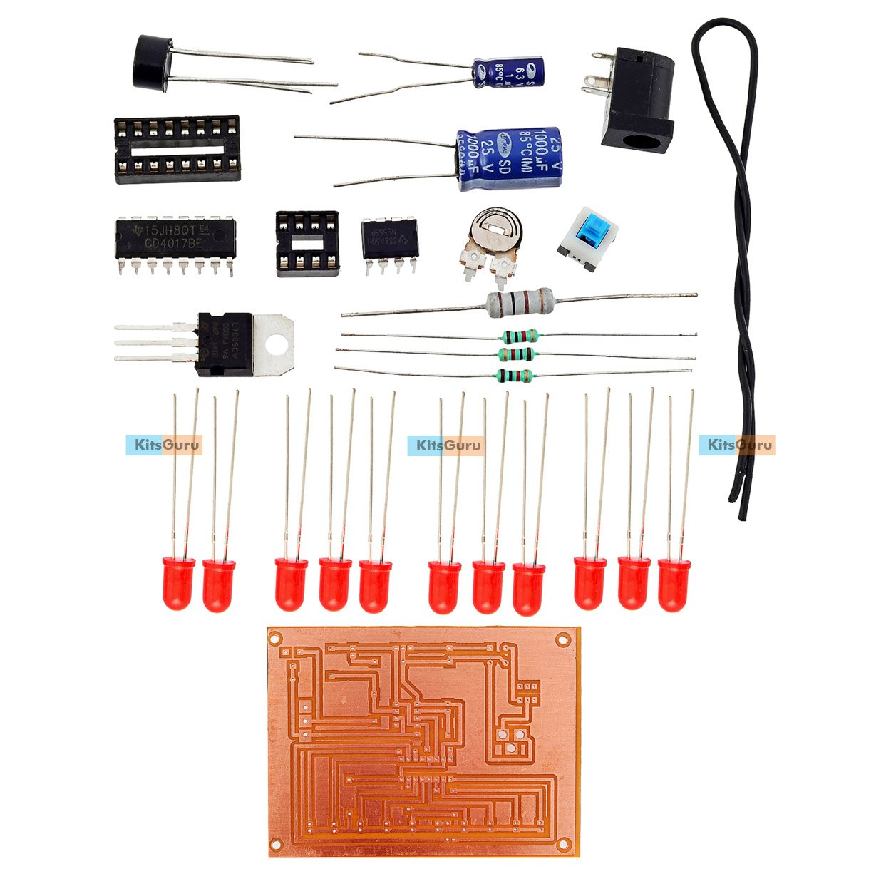 Kitsguru Diy Kit Led Chaser Circuit Lgkt078 Projects Amazon Projectsonelectricalengineering Quiz Project Using Ic 555