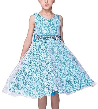 f92872484 LaoZan La Princesa Flor De Las Muchachas De Boda Formal Dama De Vestido  Noche De Fiesta para Niña Celeste 110CM / 2-3 años: Amazon.es: Deportes y  aire libre