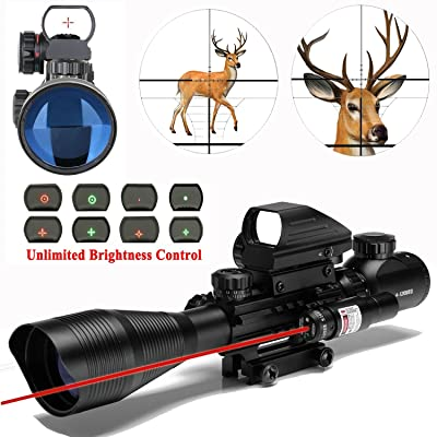 AR15 Tactical Combo Rifle Scope 4-12x50EG Dual Ill with Laser and 4 Tactical Electronic Holographic Red and Green Dot Sight