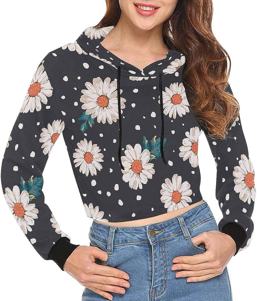 INTERESTPRINT Womens Casual Hoodies Sweatshirt Long Sleeve Crop Tops Pullover Top XS~2XL
