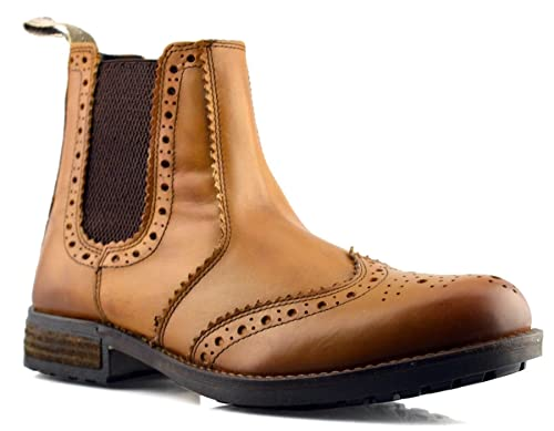 0f71e14d265 Roamer Mens New Soft Leather Chelsea Dealer Tan Slip On Brogues Ankle Boots  Shoes Size