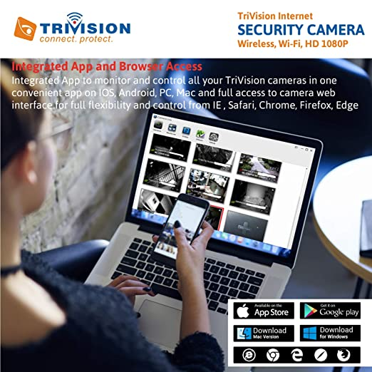 TriVision NC-229WF HD 720P Wireless Home Security Camera System Wifi  Wired,720P High Definition, DVR Micro SD Card Recording Internet Access,  True Day