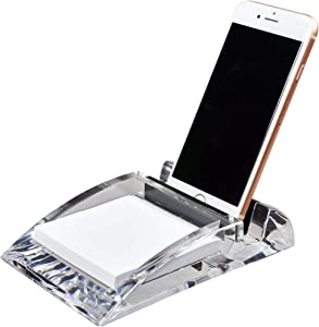 COM.TOP - Acrylic Desk Supplies Organizer (Including one memo Note) for 3 x 3 Memo pad and iPhone Stand| Office Supplies, Stationery Organizer, Desk Accessories - Clear