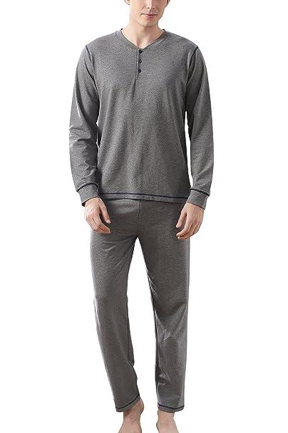Dolamen Pijamas para Hombre Algodón, Hombre Pantalones de pijama largos Primavera Suave y suave,