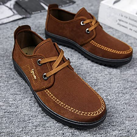 Amazon.com: Hunzed Men【Suede Casual Shoes】 Mens British Style Loafers Sneakers Classic Lace Up Oxfords Lace Dress Shoes: Kitchen & Dining