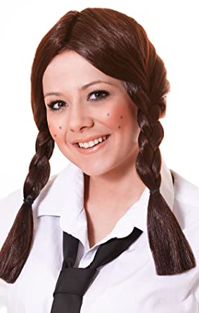 Ladies Fancy Dress Party Schoolgirl Ponytail Fake & Artificial Wig Brown