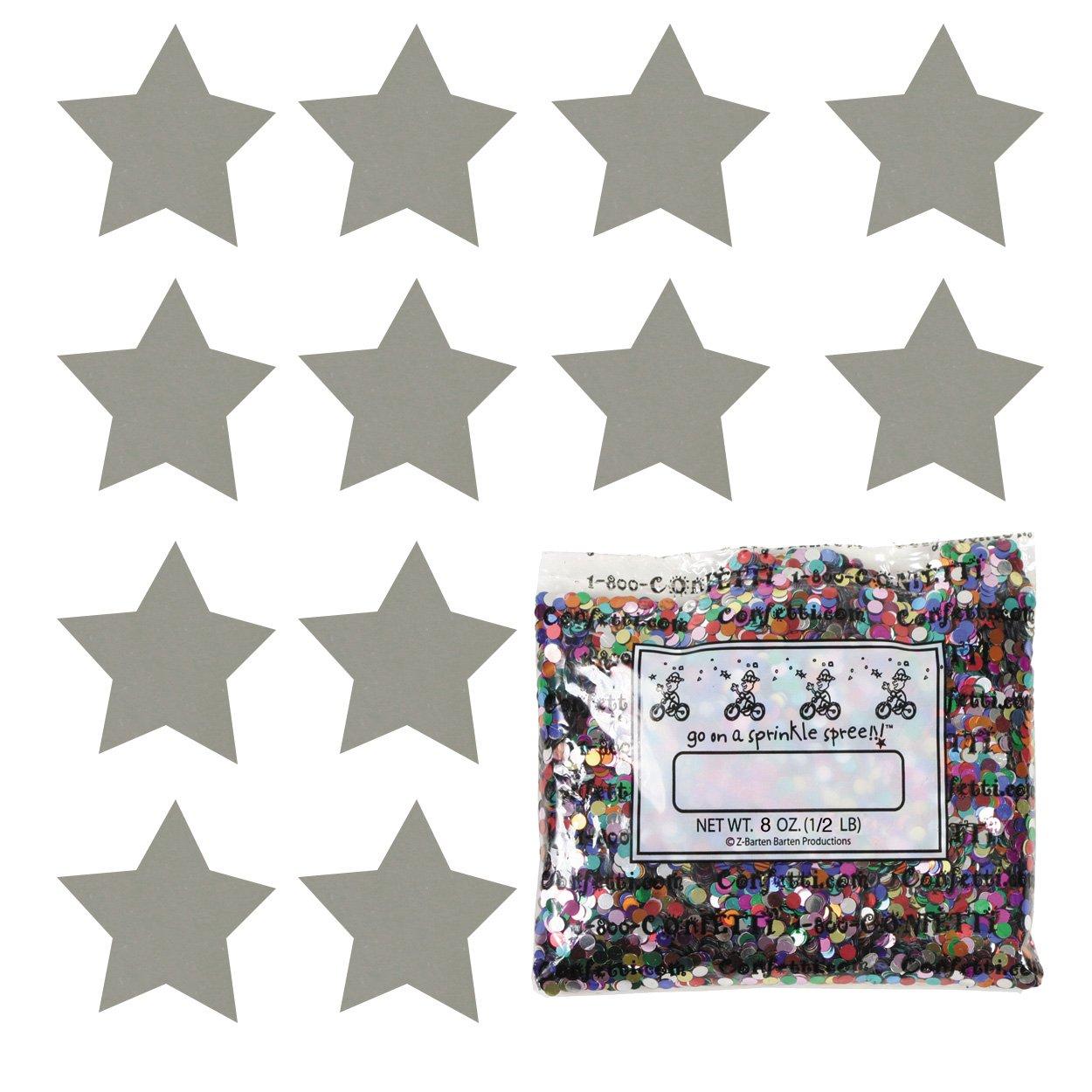Confetti Star 3/4'' Silver - Half Pound (8 oz) Free Ship (8574) by Jimmy Jems