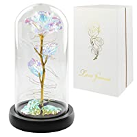Colorful Artificial Flower Rose Gift, Led Light String on The Colorful Flower,Lasts...
