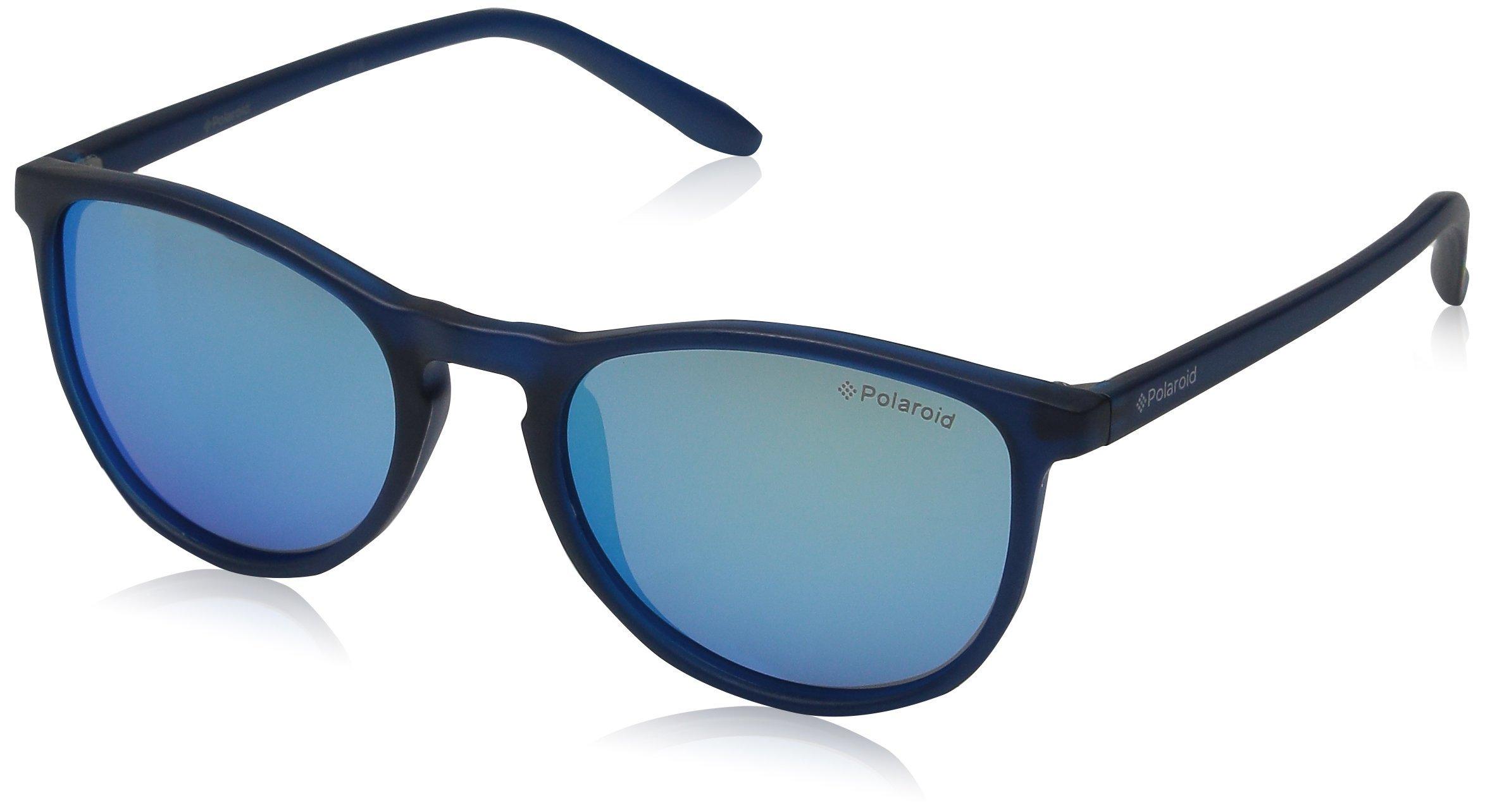 Polaroid Sunglasses PLD8016N Polarized Oval Sunglasses, Blue Transparent/Gray Blue Mirror Polarized, 48 mm