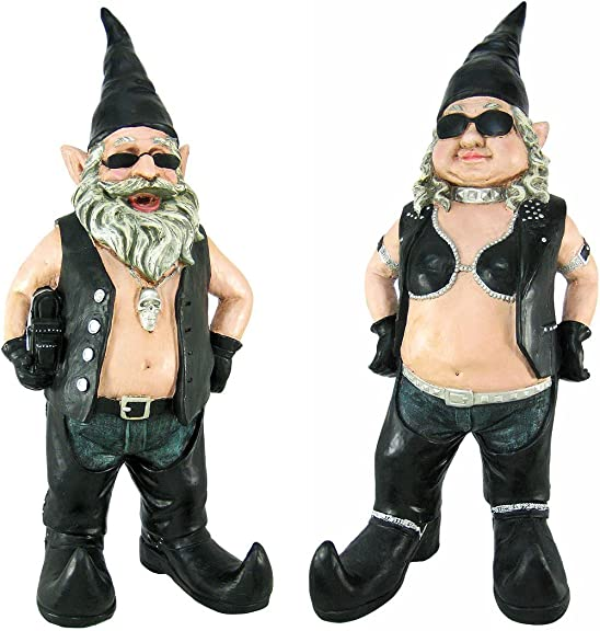 21 In. Tall Gnoschitt and Gnofun Biker Gnome Statue