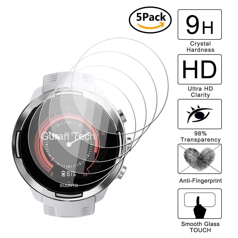 Guran [5-Unidades] Protector de Pantalla Vidrio Cristal Templado para Suunto 9 Baro Smartwatch Cristal Vidrio Templado Film (9H, 2.5D Edge, 0.3mm)