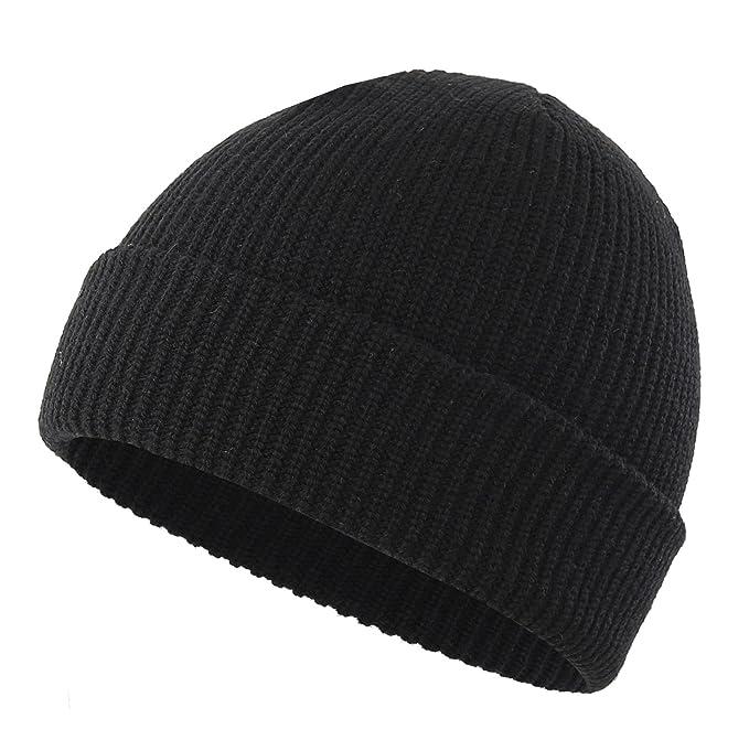001616f658c Amazon.com  Connectyle Classic Men  s Warm Winter Hats Thick Knit Cuff  Beanie Cap Daily Beanie Hat Black