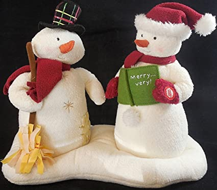 Amazoncom Hallmark Mr And Mrs Snowman Jingle Pals Plush Singing