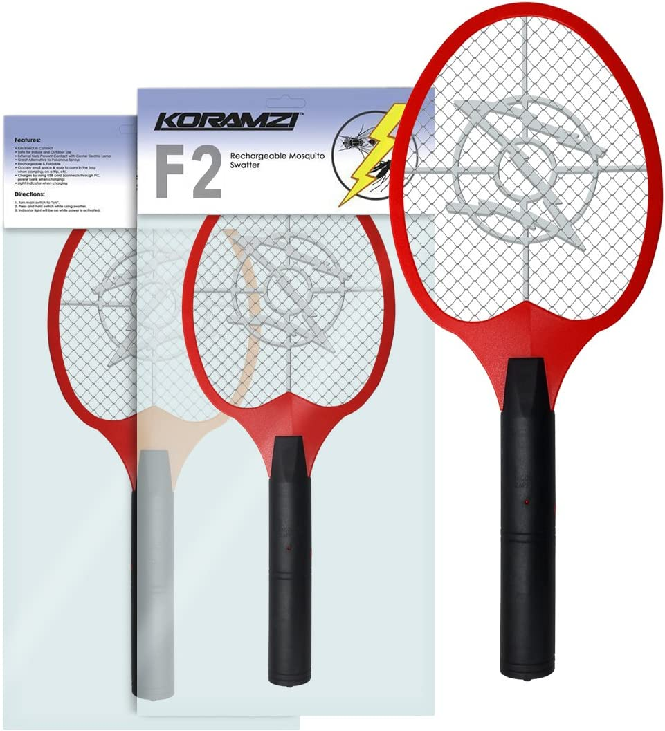 Koramzi Bug Zapper Racket Fly Swatter Mosquito Killer, Zap Mosquito Best for Indoor and Outdoor Pest Control F2 (Red)