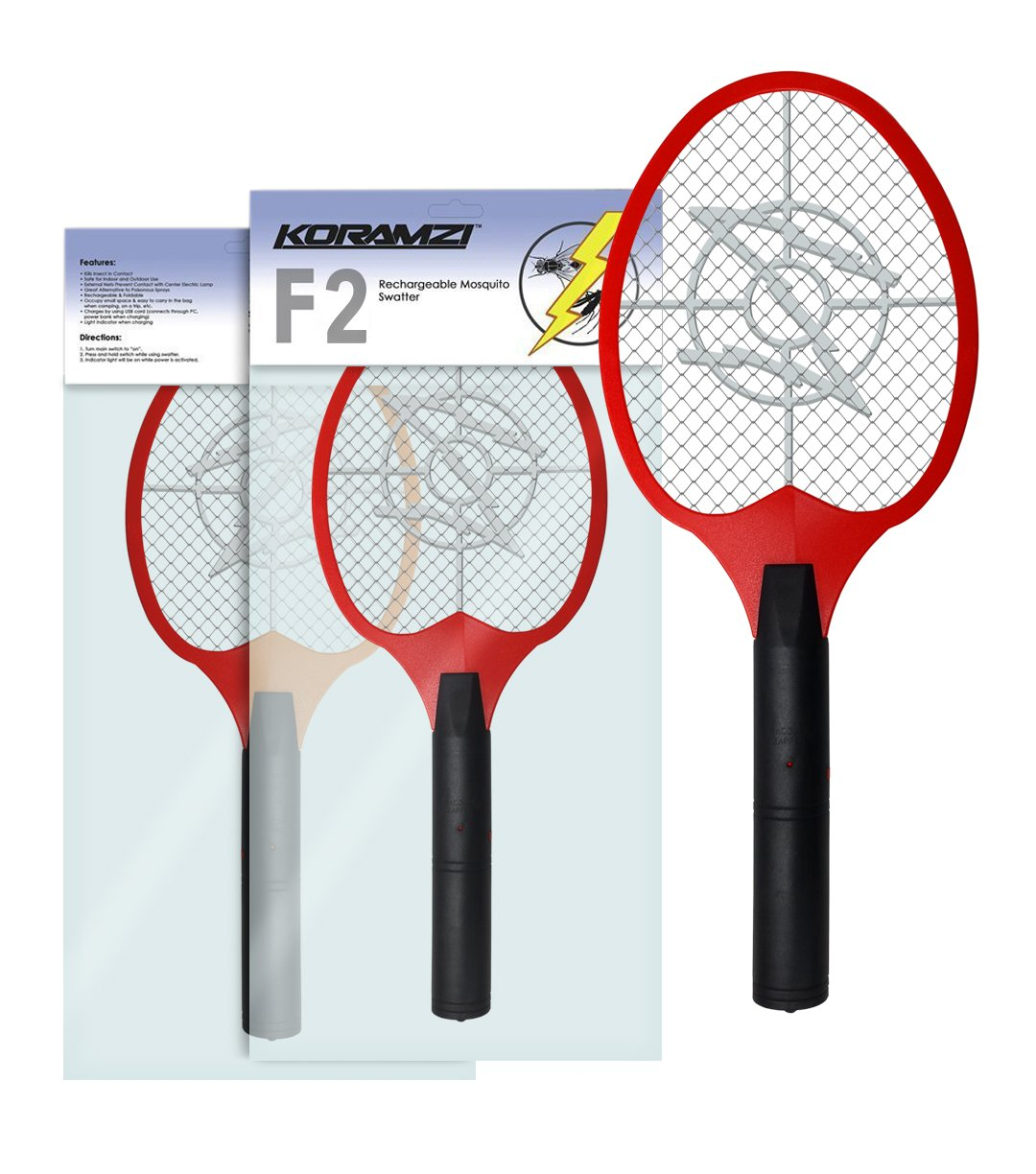 Koramzi Bug Zapper Racket Fly Swatter Mosquito Killer Zap Mosquito Best for Indoor and Outdoor Pest Control F2 (Red)