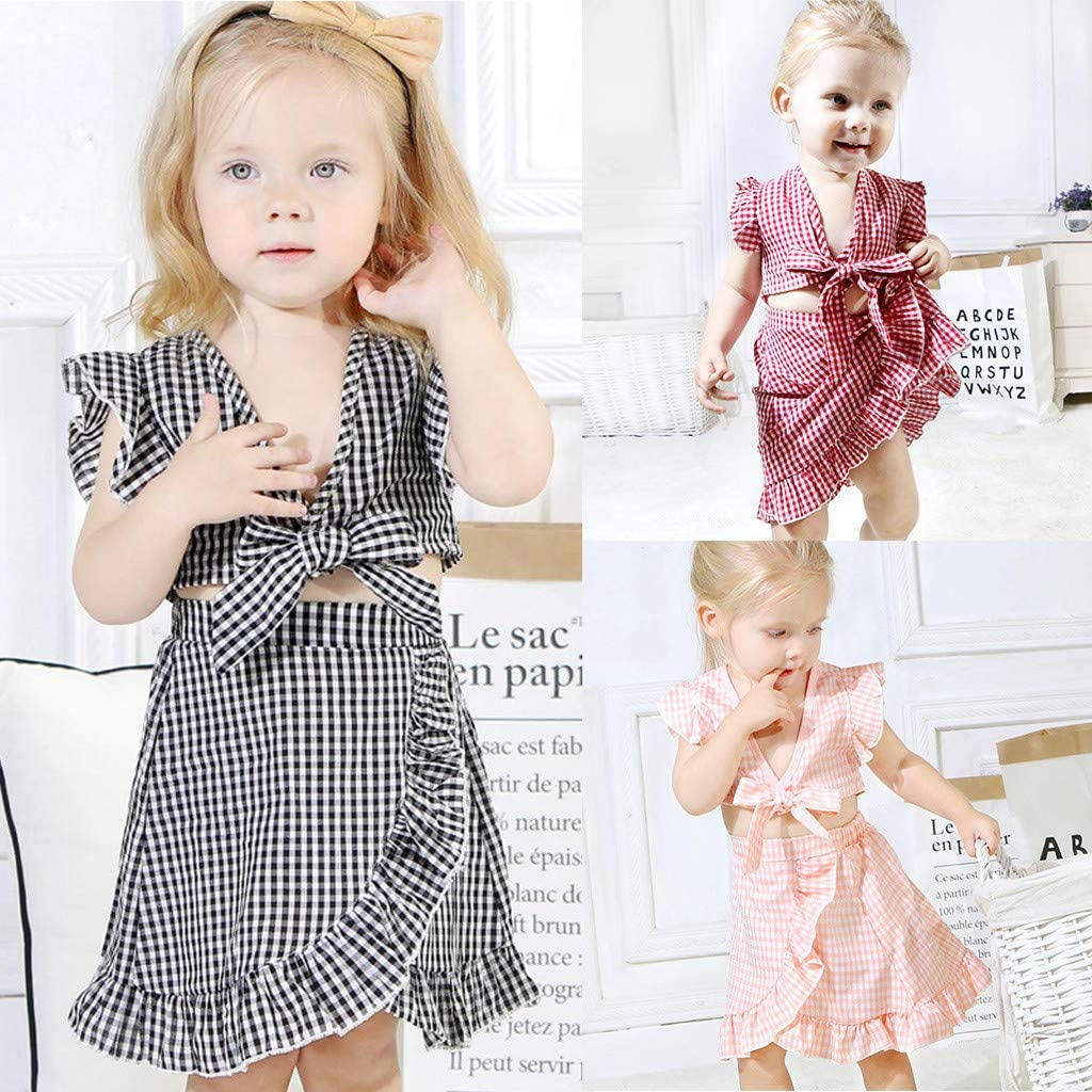 Skirts Outfit Set Tootu 2Pcs Toddler Kids Baby Girls Fly Sleeve Plaid Print Tops