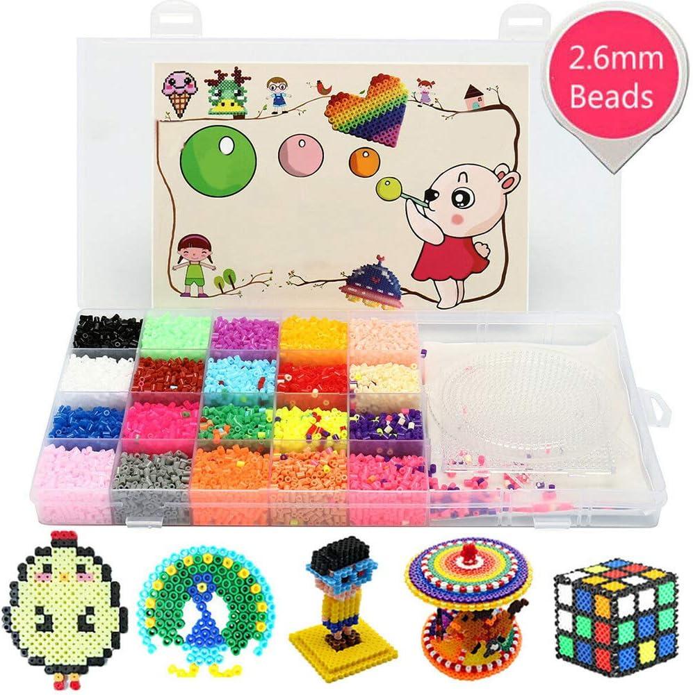 vap26 Fuse Beads Jigsaw Kit Assorted 11.000 Perlen und 3 Steckbretter Kids Pädagogisches Spielzeug DIY Craft