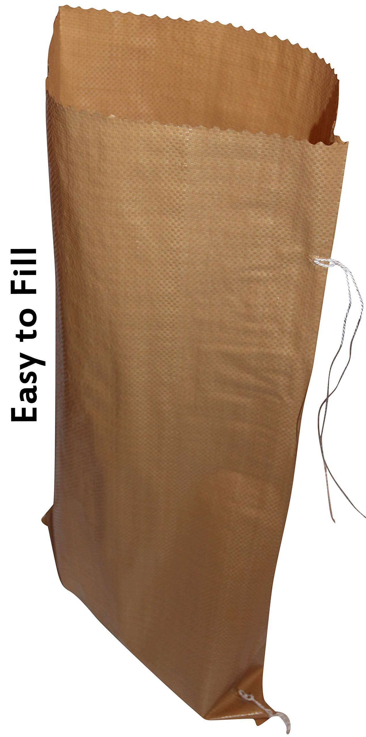 Sand Bags 14'' X 27'' Empty Woven Polypropylene Sandbags w/Ties- 1350 Denier -Tan/Earth, Heavy Duty with Enhanced UVI Protection, Waterproof, Dust Proof, (10 Bags) The Goldilocks of Sandbags by BagsOSand