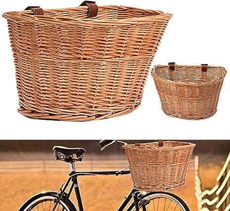 decwang - Cesta de Mimbre para Manillar de Bicicleta, con Correas ...