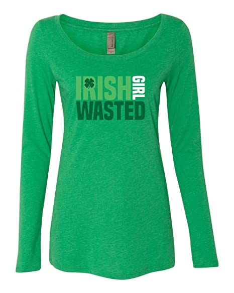 5f71ce28a Amazon.com: Panoware Women's St Patricks Day Long Sleeve T-Shirt | Irish  Girl Wasted: Clothing