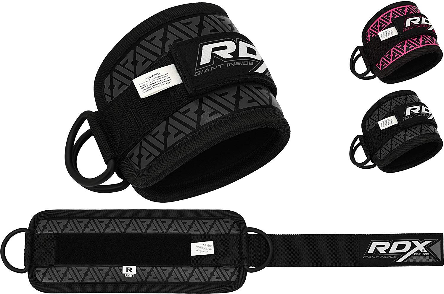 Steel Double D Ring Ankle Cuff Legs Workout Butt and Thigh Exercise- Maya Hide Leather Multi Gym Strap Pulley Attachment RDX Ankle Strap for Cable Machine Great for Glute