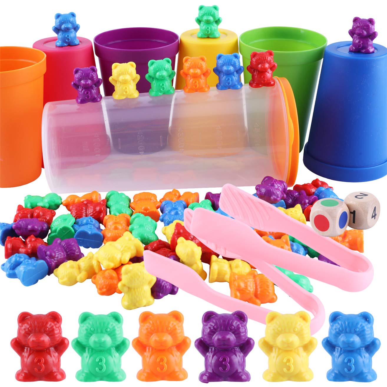 Miumiu Rainbow Counting Bears, 71pcs Colorful Counting Bears Set with Matching Sorting Cups, Bear Counters and Dice Math Toddler Games Montessori Rainbow Matching Game Educational Color Sorting Toys