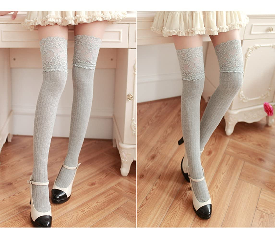 0a76da12c Toptim Women Girls Over the Knee Thigh High Stockings Lace Cosplay Socks  larger image