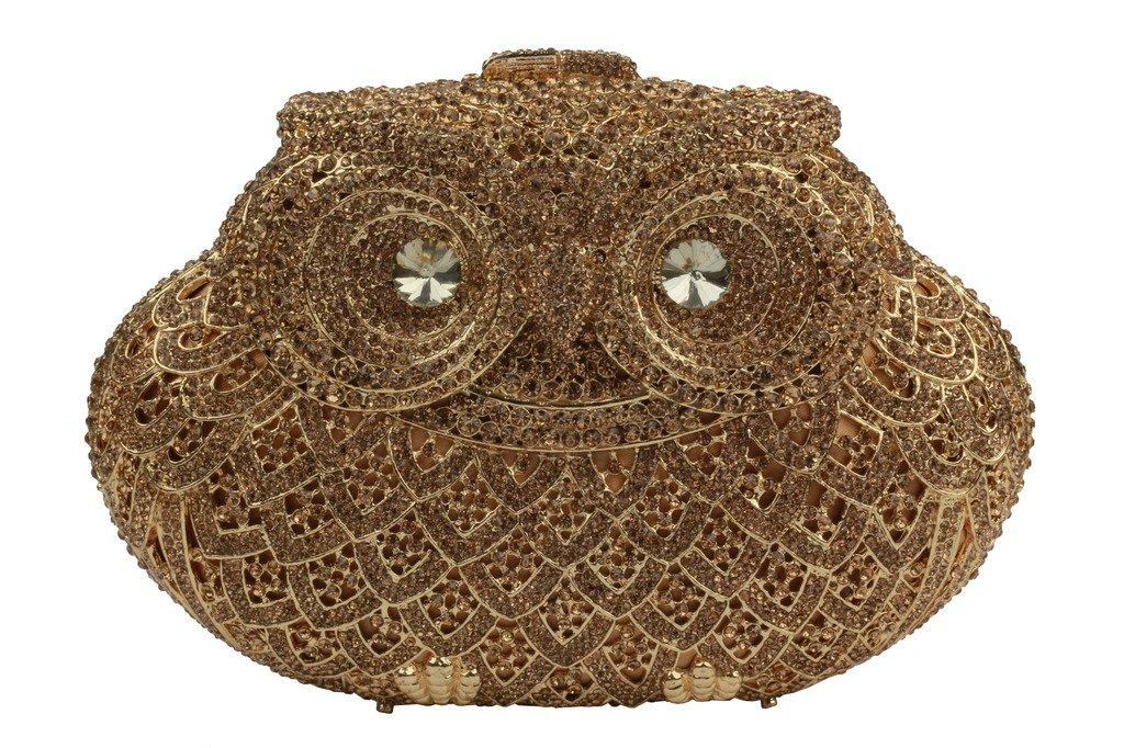 YILONGSHENG Owl Style Diamond Evening Handbags EB0730 Gold by YILONGSHENG