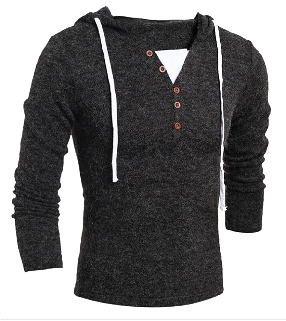 Coolred-Men Vogue Drawstring Button-up Relax-Fit Jumper Outwear