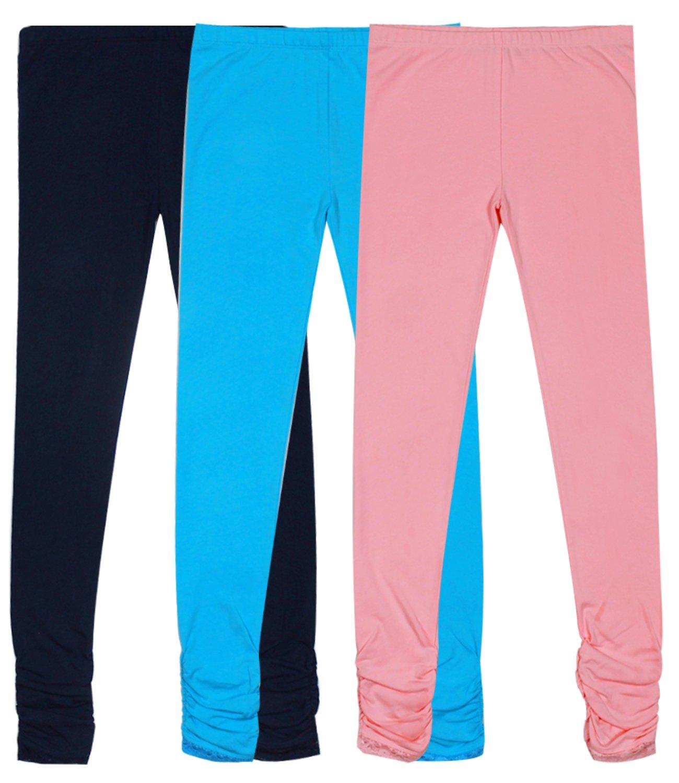 Bienzoe Girl's Knit Cotton Stretch School Uniform Lace Antistatic Legging 3 Pack D Size 8, Navy/Blue/Lt Pink