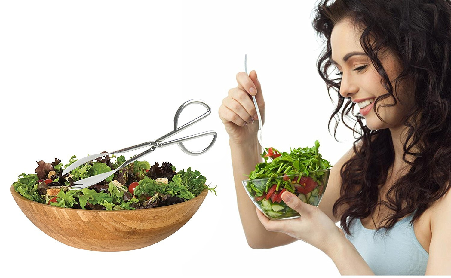 My Salad Tongs | Solid Tongs with Fork, Spoon, and Scissors Fusion | Durable Polished Stainless Steel Anti-rust Anti-Corrosion Technology | Incredible Thick Comfy Grip | Easy Serving | Dishwasher Safe