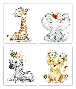 Designs by Maria Inc. Safari Babies Watercolor Animals Prints Set of 4 (Unframed) Nursery Decor Art (8x10) (Option 1)