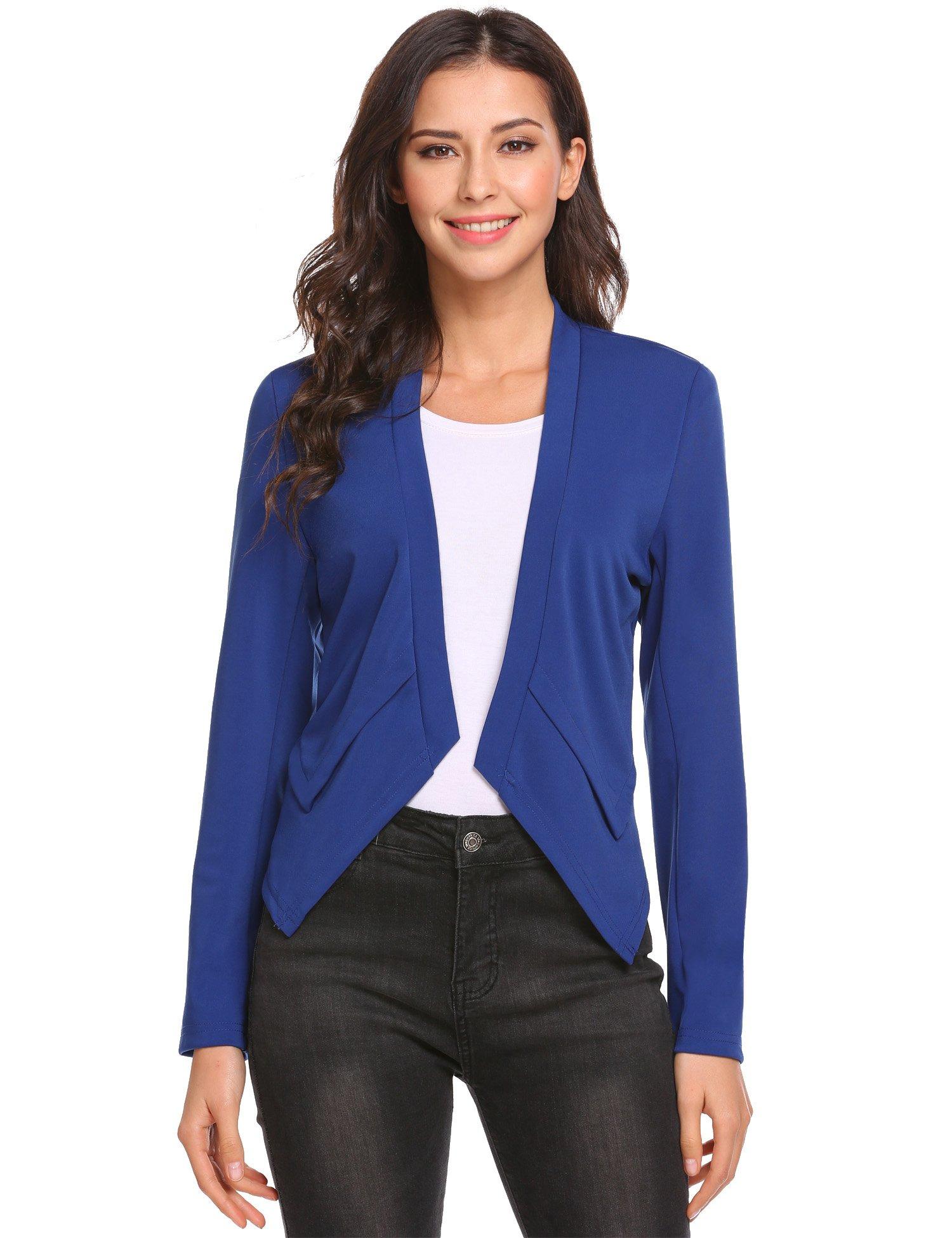Burlady Women's Collarless Long Sleeve Casual Work Office Open Front Blazer Jacket, Blue, Large