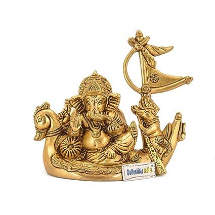 e8de8582b0 Collectible India God Ganesha Sitting On Duck Brass Idol Figurine (Golden)