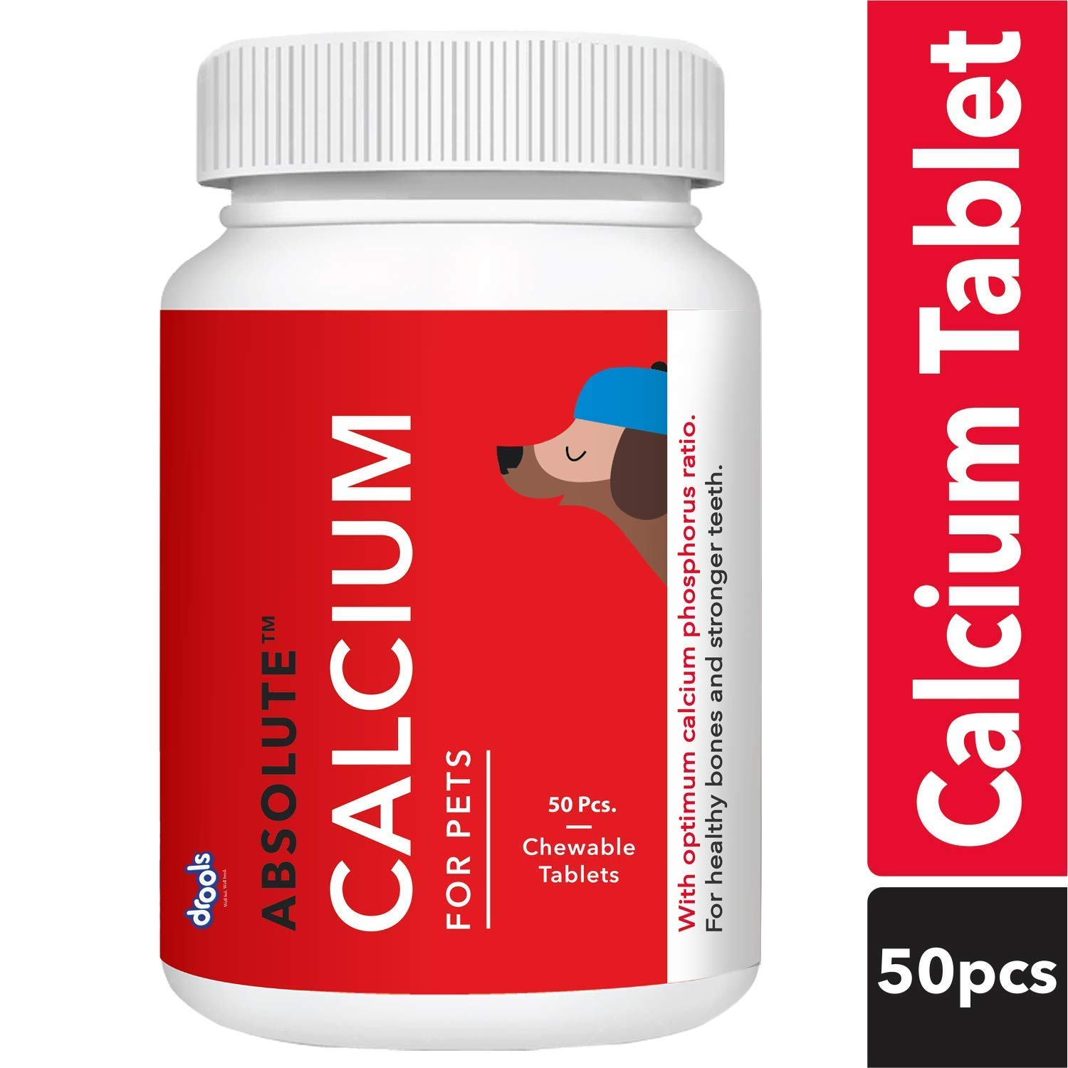 Drools Absolute Calcium Tablet- Dog Supplement, 50 Pieces product image