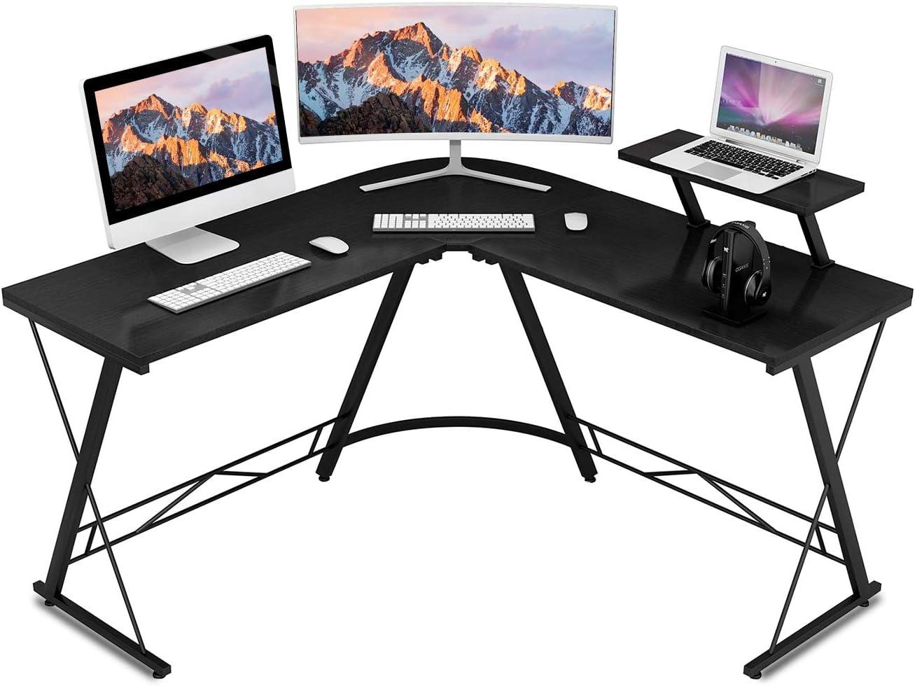 Hanamichi L Shaped Desk Home Office Desk, Gaming Computer Desk with Monitor Stand, Round Corner Desk for Home Office, Workstation, Bedroom,Living Room, Easy to Assemble, Black