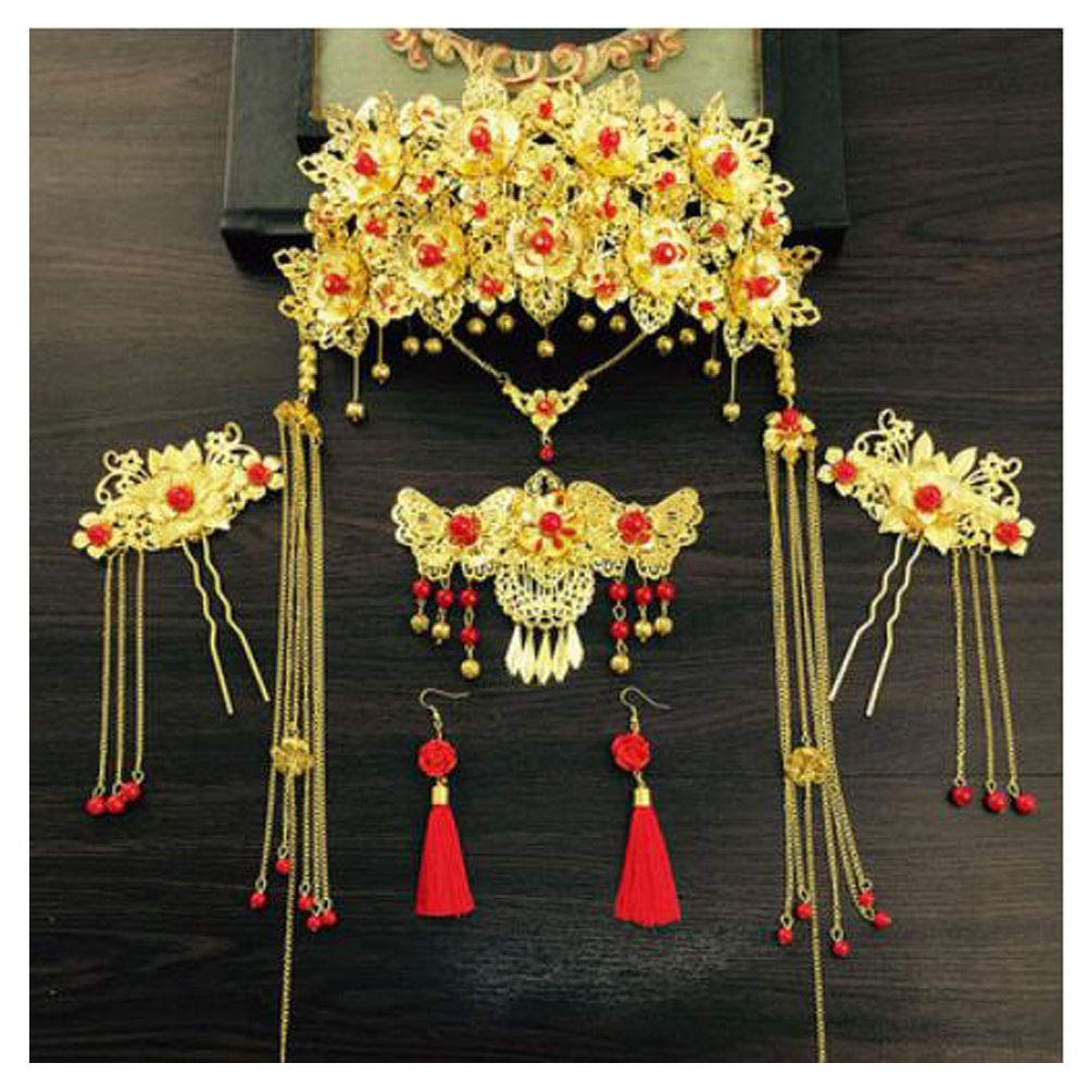 Chinese Ancient Bridal Hair Ornaments Wedding Hair Styling Earrings Sets Accessories Hairpin, 07 by George Jimmy