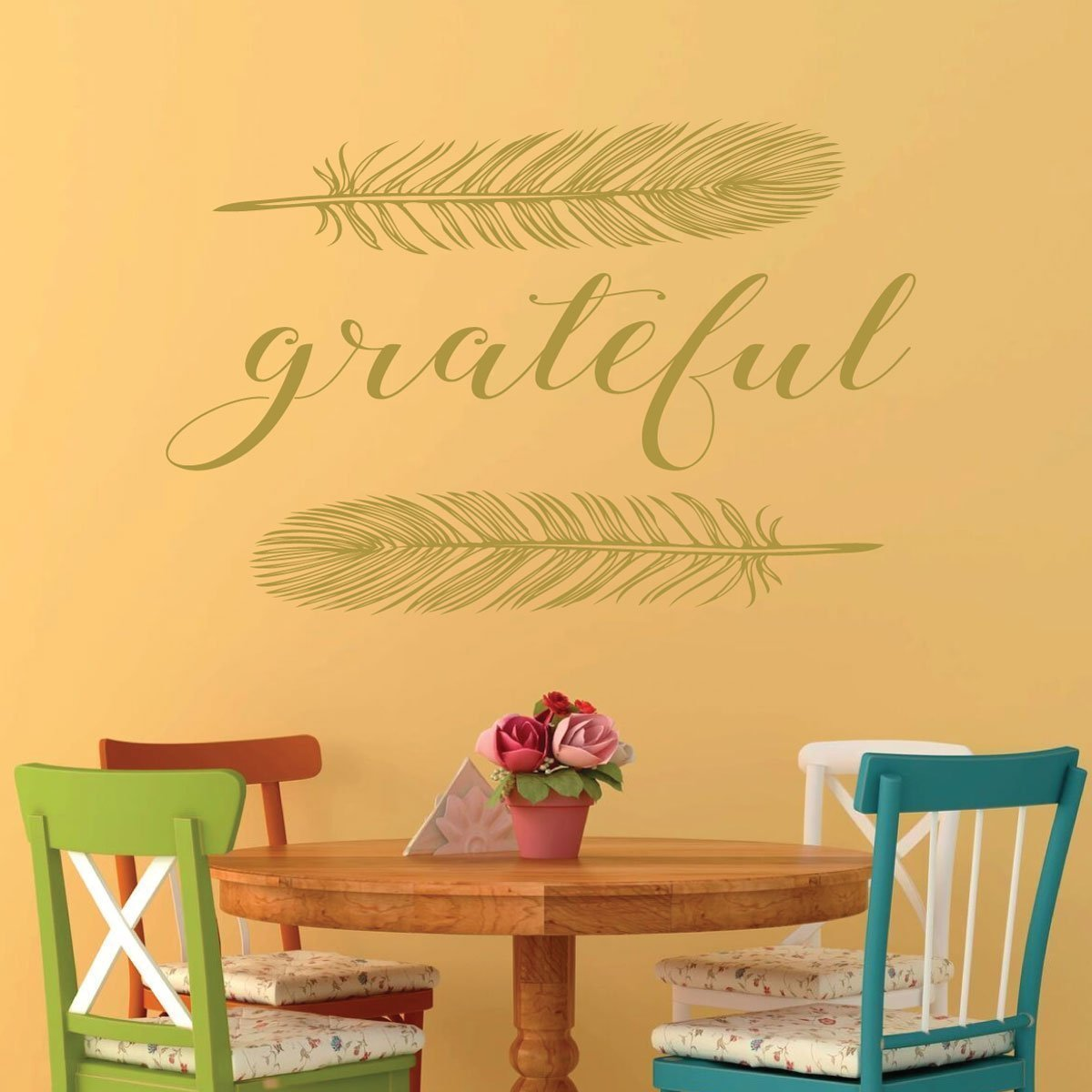 Amazon.com: Gratitude Wall Decal - Grateful Word with Feathers ...