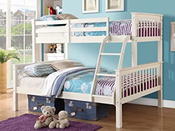 Home Source Triple Bunk Bed In White Or Pine Three Sleeper