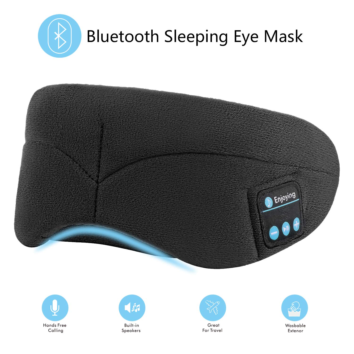 Bluetooth Sleeping Eye Mask with Wireless Headphones,ERNSTING Wireless Bluetooth Music Headset with Adjustable Built-in Speaker and Microphone Calls Washable Perfect for Travel and Sleep (Black)