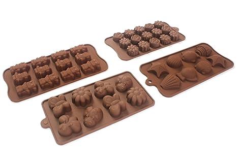 q-life 4pc Candy moldes, moldes Chocolate, moldes de silicona, jabón Moldes