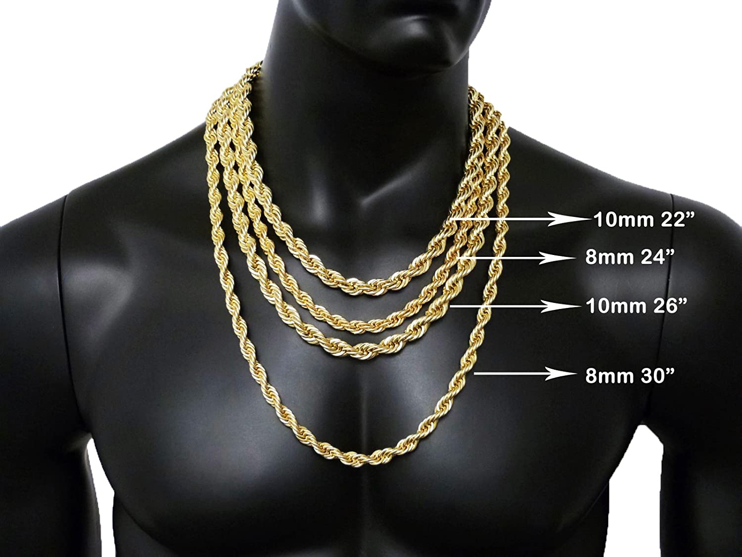 Hip Hop 80 Unisex Rappers 8mm 24 30 Hollow Rope Chain Necklace