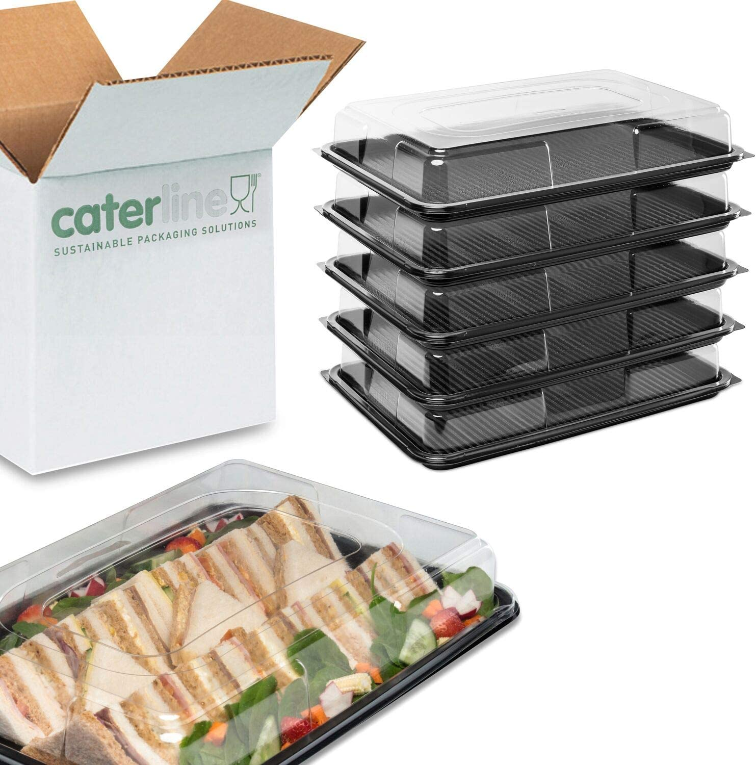 Pack of 25 with Lids Special BuffetPack 5Large//5Medium//5Small//5Mini Buffet Catering Partyfood//Sandwich Plastic Platters /& 5 Crisp Bowls