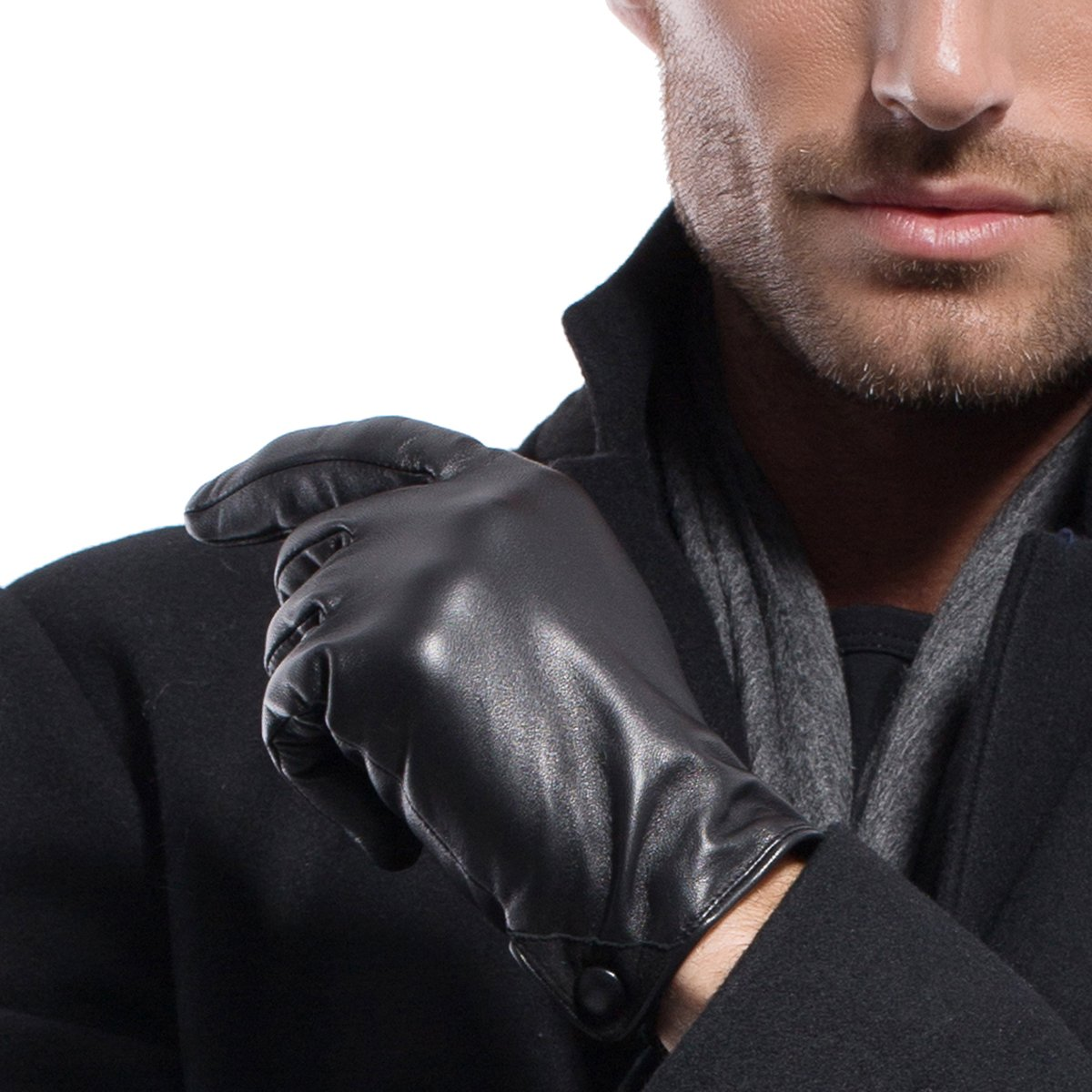 MATSU Men's Touchscreen Leather Soft Cashmere Lined Gloves Police Style M1005 (Black,XL)