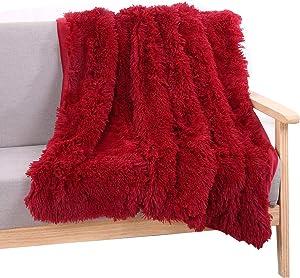 YOU SA Super Soft Long Shaggy Fuzzy Fur Faux Fur Warm Elegant Cozy with Fluffy Sherpa Throw Blanket 63''79'',Burgundy Red