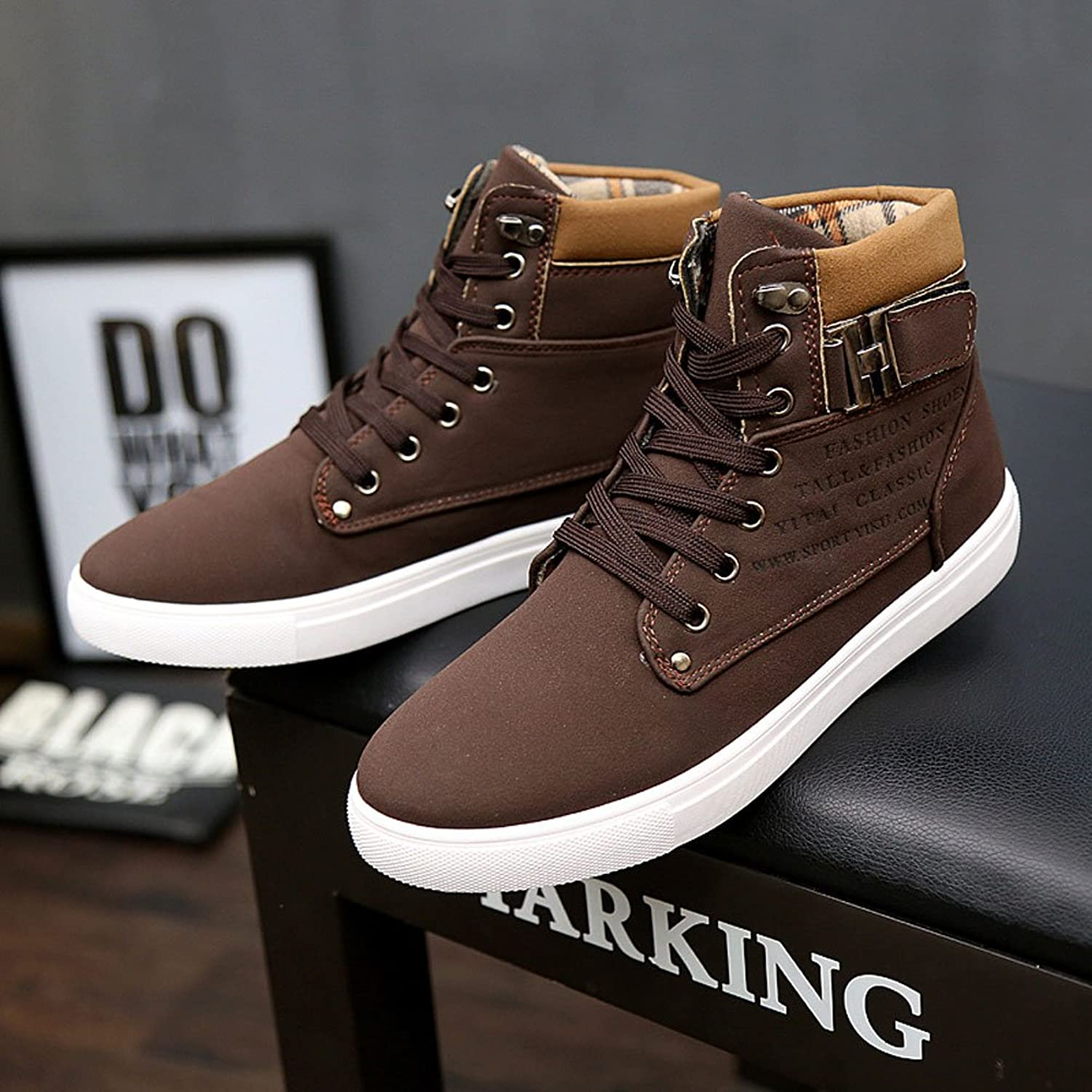 iLory Men's Fashion High Top Casual Shoes Lace up Suede Loafers Martin boots:  Amazon.co.uk: Shoes & Bags