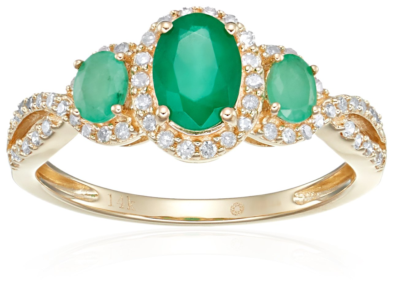 14k Yellow Gold Emerald and Diamond 3-stone Halo Engagement Ring (1/4 cttw, H-I Color, I1-I2 Clarity), Size 7